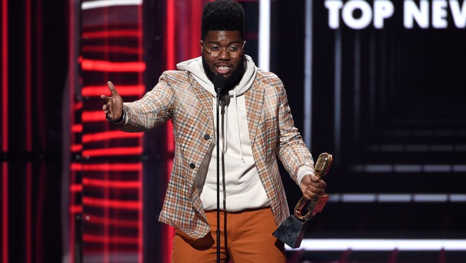 Khalid accepts the award for top new artist at the Billboard Music Awards at the MGM Grand Garden Arena on Sunday in Las Vegas.