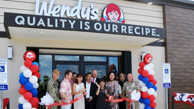 Wendy's celebrated the opening of its Naval Base Guam location with a ribbon cutting on Jan. 9, 2018.