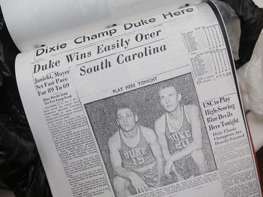 Newspaper articles from the 1950s about Duke player Rudy D'Emilio, now an 83-year-old Edison resident.