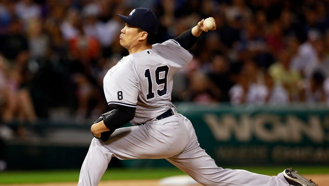 New York Yankees pitcher Masahiro Tanaka delivers during the sixth inning of a baseball game against the Chicago White Sox in Chicago, Tuesday, July 5, 2016.