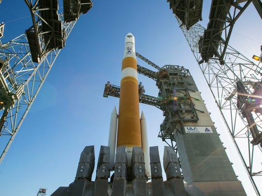 United Launch Alliance's Delta IV rocket sits on the