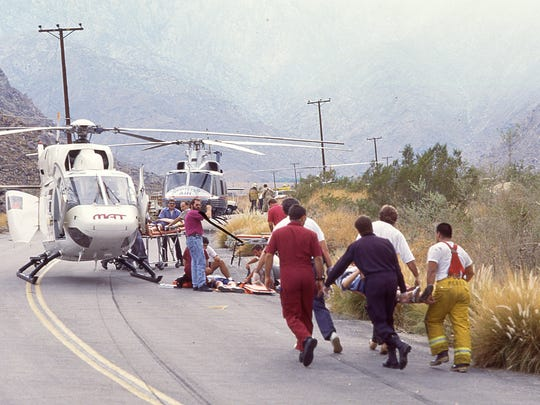Site of the Girl Scouts bus crash on Tramway Road in Palm Springs, July 31, 1991.