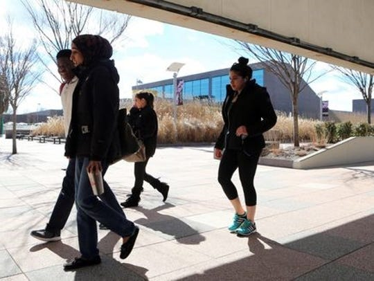 Students change classes at SUNY Purchase on Feb. 16,