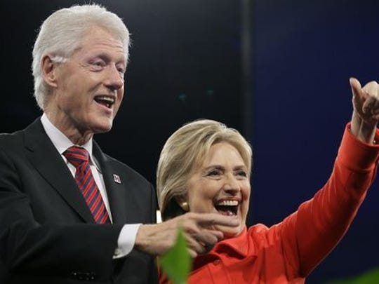 Former President Bill Clinton and his wife, former first lady, New York senator and secretary of state, Hillary Clinton.