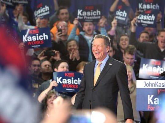 John Kasich addresses supporters at a watch party in Berea, Ohio, on March 15, 2016.