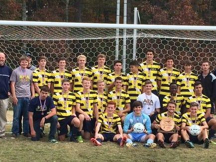 The 2015 Asheville Christian Academy boys soccer team and coaches.