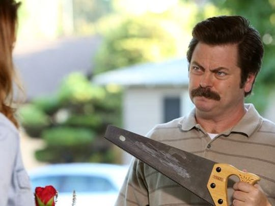 "Nick Offerman as Ron Swanson on NBC's ""Parks and Recreation."""