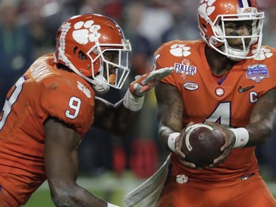 Wayne Gallman shared the backfield with one of the