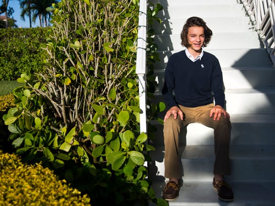 Cooper Pertchik, an eighth-grader at  Community School of Naples, poses for a portrait on Monday, April 2, 2018, at his home in North Naples. Cooper qualified for the National Geographic Geography Bee state finals in Jacksonville, Fla.