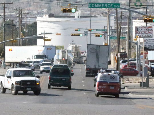 Morning traffic rolls along Hawkins Blvd. between Gateway East and North Loop Drive. Parts of this stretch of roadway is rutted due to heavy truck traffic and marked with pot holes. It is included in a list of streets identified as most in need of repair.