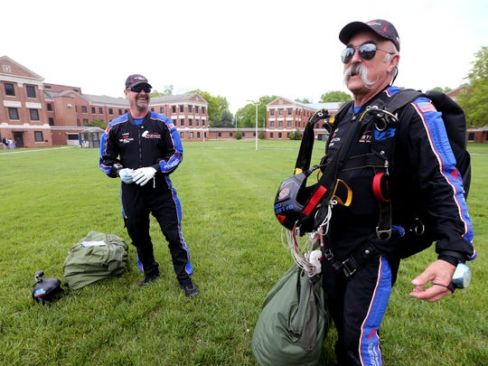Two flag jumpers from Team Fastrax parachuted onto the York VA Medical Campus in Murfreesboro, on Friday, April 21, 2017.