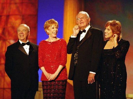 Tim Conway, left to right, Carol Burnett, Harvery Korman