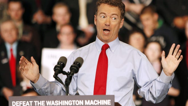 Sen. Rand Paul, R-Ky., who is running for president, speaks in Milford, New Hampshire in April.