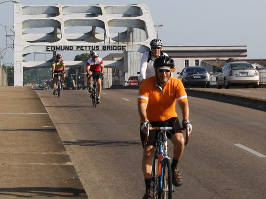 2 - Edmund Pettus Bridge with Cyclists and Bruce leading.JPG
