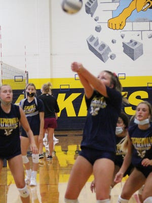Stephenville High School volleyball players are pictured Monday afternoon during the first day of preseason practice for the 2020 season. Coach Shay Douglas's Honeybees got a jump on most other teams around the state with their midnight madness about 12 hours earlier. She said almost 60 student-athletes came out in all, from 9th through 12 grades.