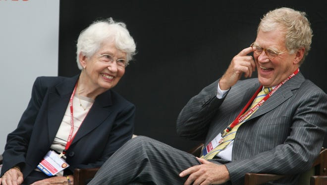 David Letterman, right, and his mother, Dorothy Mengering, are pictured at the 2007 dedication of Ball State University's David Letterman Communication and Media Building.