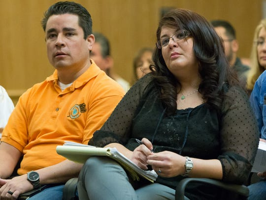 Arianna Fierro, President of the Tortugas Corporation, right,  and Patrick Narvaez, acting Cacique, attend a Doña Ana County commissioners meeting on March 22, 2016 where The Piro-Manso-Tiwa Indian Tribe of the Pueblo of San Juan de Guadalupe got the support of Dona Ana County commissioners on to petition to be federally recognized.