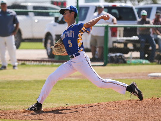 Reagan County's Seth Hernandez helped the Post 8 Cannoneers win their opening game at the American Legion state baseball tournament in Brenham on Wednesday.
