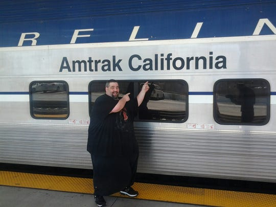 Dan Maurer at the train station in Los Angeles on his way to consult with Dr. Joel Gelman in July. He had successful scrotal surgery on Aug. 28