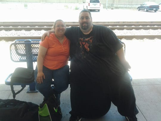 Dan Maurer and his wife Melita at the train station in Los Angeles in July. Dan had successful surgery for scrotal lymphedema on Aug. 28.