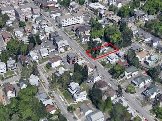 The location of a proposed five-story apartment complex