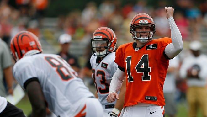 Cincinnati Bengals quarterback Andy Dalton calls a play during training camp at their practice facility next to Paul Brown Stadium last year.