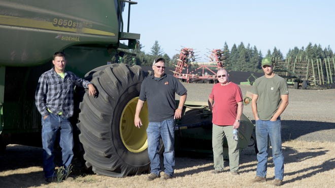 VIctor Point area farmers and landowners including Jesse Rue, left, Joel Rue, Bruce Jaquet and Lucas Rue, are fighting to keep a proposed dam and reservoir from being built along Drift Creek.