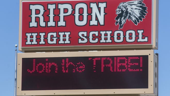 A message board bears the likeness of a Native American in front of Ripon High school in Ripon.