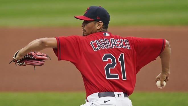 Cleveland Indians starting pitcher Carlos Carrasco delivers in the first inning of a baseball game against the Kansas City Royals, Wednesday, Sept. 9, 2020, in Cleveland.