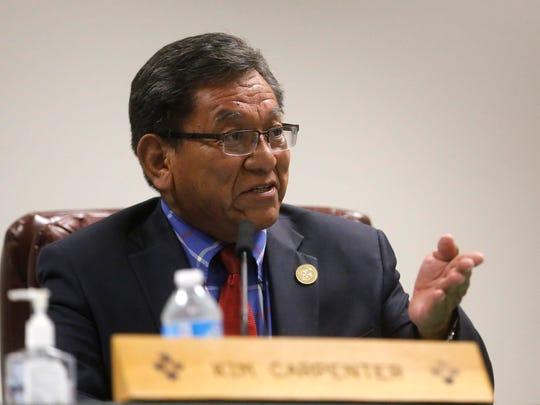 Navajo Nation President Russell Begaye describes how the tribe will take over three fire stations during a San Juan County Commission meeting in Aztec earlier this month.