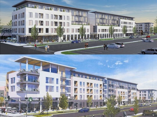 An updated design of the Christa-Morgan development at the Inner Loop near East Avenue (lower) as compared to initial design released in September 2016 (top).