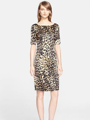 This St. John Collection's leopard print silk charmeuse dress is on sale for $599, regularly $995.