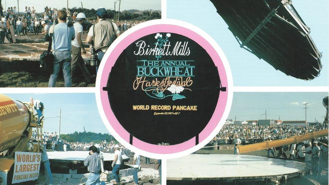 The Buckwheat Festival got a lot of attention in 1987 for creating the world's largest pancake – a record since broken. The Birkett Mills created, baked, flipped and served the nearly 4,300-pound pancake.