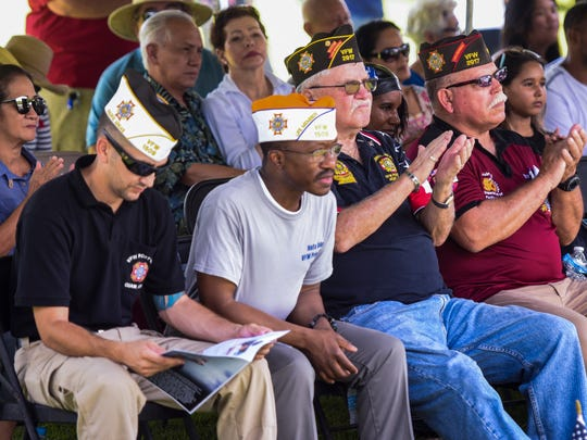 Veterans and service members of the various branches of the U.S. Armed Forces are honored and recognized during the Veterans Day ceremony at Ypao Beach Park in Tumon on Saturday, Nov. 11, 2017.