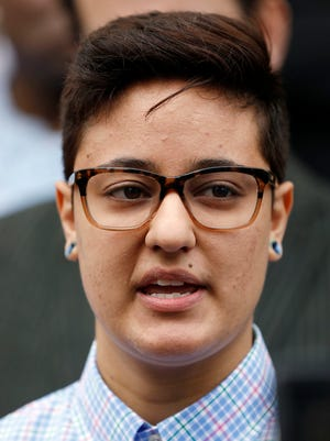 Daniela Vargas speaks about the immigration raid that picked up more than 50 allegedly undocumented immigrants including her father and brother during a news conference March 1, 2017, at the Jackson, Miss., city hall. A short time after the news conference, Vargas was detained by Immigration and Customs Enforcement officials. Vargas' attorney said Friday, March 10, 2017, that Vargas will be released from custody.
