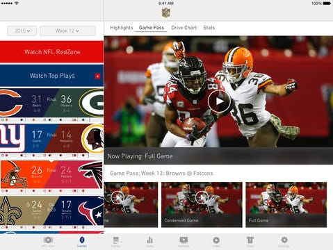 A screen shot of the NFL Mobile app on a tablet.