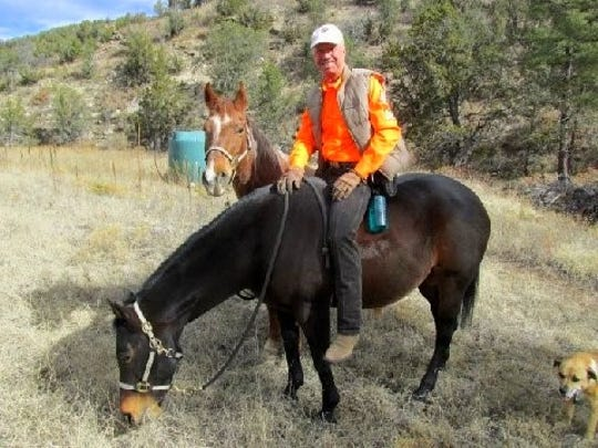 WMSAR mounted member Matthew Midgett, pauses with equine members Belle and Spanky, and canine member, Lulu..