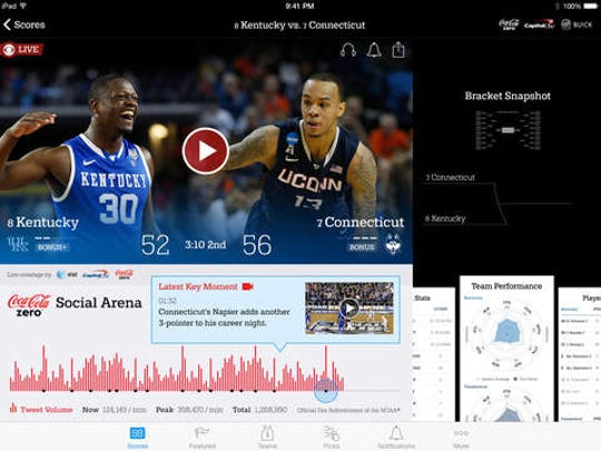A screen shot of the March Madness Live app