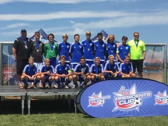 Members of Fire FC U14 pose for a picture after winning the regionals last month. The program is now just one of four teams playing for the national championship.   The tournament is in Tulsa, Oklahoma and runs July 14-17.