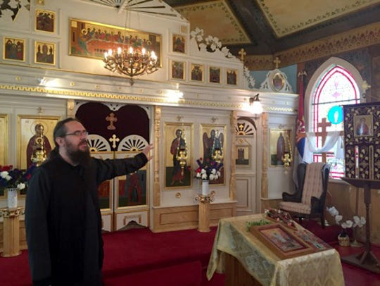 Father Borjan Vitanov points out the Byzantine-style