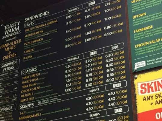 A menu board from a Potbelly Sandwich Shop in the Washington