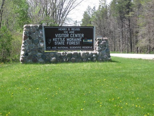 Signage for the Ice Age Visitor Center, located half a mile west of Dundee along Highway 67.