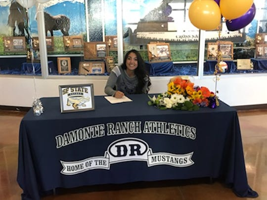 Damonte Ranch senior Brylynn Vallejos signed with San Francisco State for softball on Tuesday.