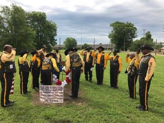The Buffalo Soldiers Motorcycle Club of Alexandria dedicated a memorial wreath on Monday, May 29, 2017 in downtown Alexandria at the site of the Lee Street Riots that took place Jan. 10, 1942. About 200 soldiers lost their lives in the riot.