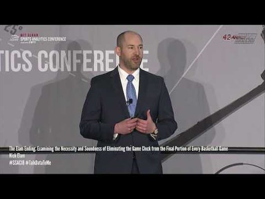 Nick Elam delivers a presentation about the Elam Ending at the MIT Sloan Sports Analytics Conference on February 24, 2018.