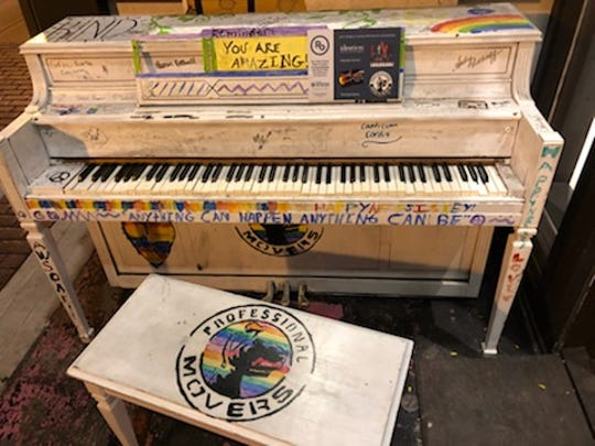 The public piano in front of Gayle's Chocolates at 417 S Washington Ave. in Royal Oak was vandalized on Wednesday, Aug. 1, 2018.  The piano is part of the Royal Oak Public Piano Project.