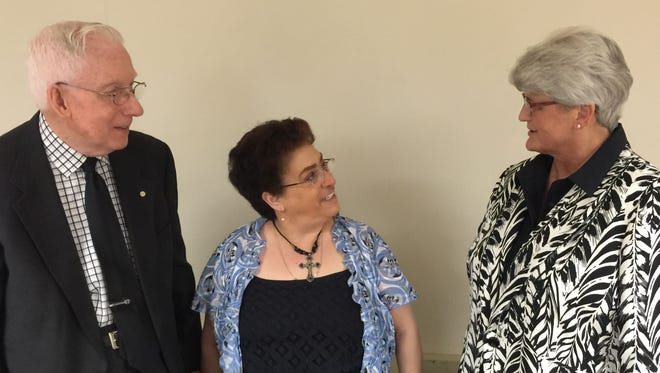 The Rev. Carly Kuntz, right, was the guest speaker at the Golden K Kiwanis 34th Annual Prayer Breakfast. Diana Reynolds, center, is the current president of the club, and fellow member and retired Rev. Bruce Huffer, left, were among those helping to stage the event.