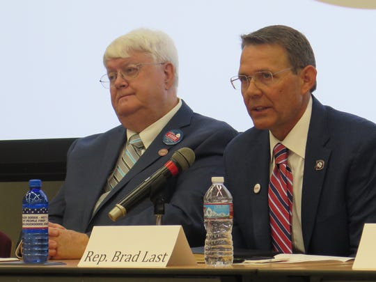 Chuck Goode (left) and Utah Rep. Brad Last, candidates for House District 71, debate during a candidate forum in 2016 at Dixie State University.