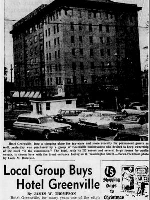 An article from the front page of The Greenville News on Dec. 7, 1961. Hotel Greenville was once named Hotel Imperial.