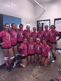 Members of the Becker volleyball team wore pink in the Oct. 13 match against Princeton to show support for teammate Sarah Garding, whose mother is battling breast cancer.